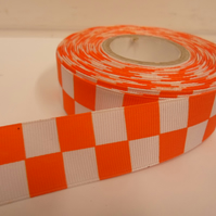 1 roll of 25mm Woven Ribbon x 20 metres, bright orange & White, Square block