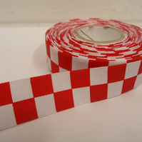 1 roll of 25mm Woven Ribbon x 20 metres, Red & White, Square block