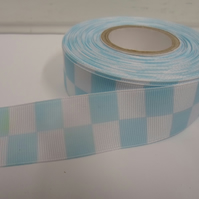 1 roll of 25mm Woven Ribbon x 20 metres, Light Blue & White, Square block