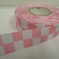 2 metres x 25mm Woven Ribbon Light Pink & White, Square block