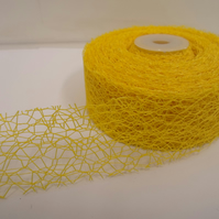 2 metres of 38mm Canary Yellow Angel Hair Ribbon, Mesh, Netting, Double sided