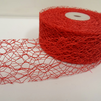 2 metres of 38mm Red Angel Hair Ribbon, Mesh, Netting, Double sided