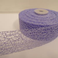 2 metres of 38mm Lilac Angel Hair Ribbon, Mesh, Netting, Double sided