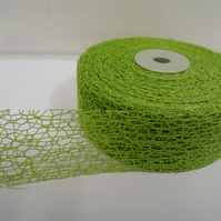 2 metres of 38mm Leaf Green Angel Hair Ribbon, Mesh, Netting, Double sided