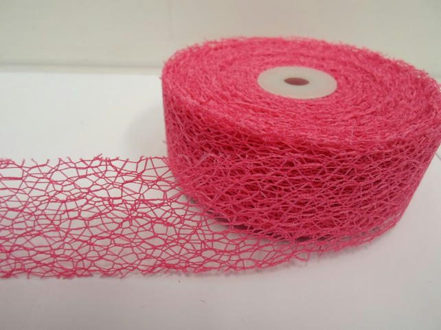 1 roll of 38mm x 20 metres Barbie Pink Angel Hair Ribbon, Mesh, Netting