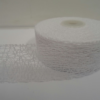 2 metres of 38mm White Angel Hair Ribbon, Mesh, Netting, Double sided