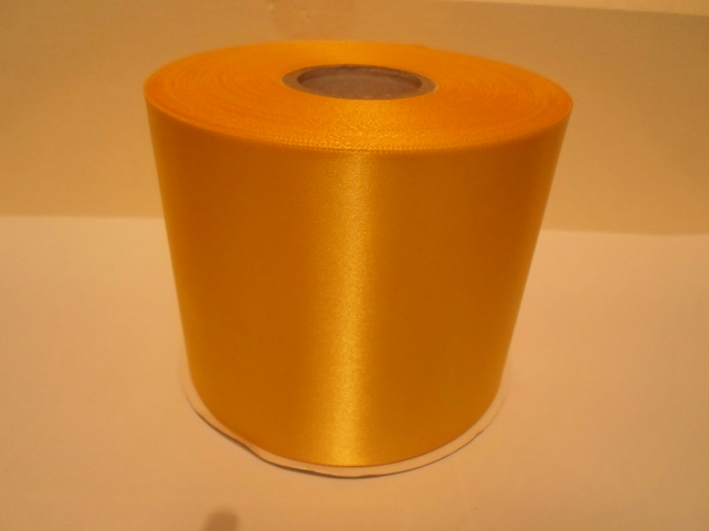 2 metres x 100mm Canary Yellow Satin Ribbon, single sided 100 mm