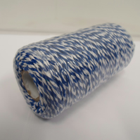 2 metres x 1mm Royal Blue and White Bakers Twine, cord, rope 1 mm
