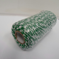 2 metres x 1mm Emerald, Dark Green and White Bakers Twine, cord, rope 1 mm