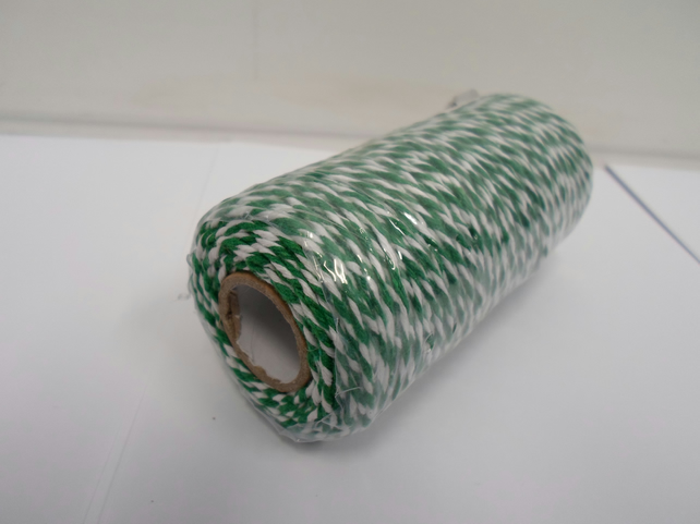 1 roll of 1mm Emerald, Dark Green and White Bakers Twine x 100 metres, cord,rope