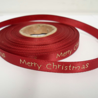 2 metres x 10mm Red Merry Christmas Satin Ribbon, 10 mm