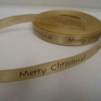 2 metres x 10mm Light Gold Merry Christmas Satin Ribbon, 10 mm