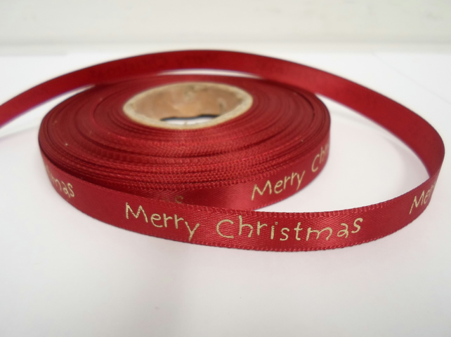 1 roll of 10mm x 25 metres Red Merry Christmas Satin Ribbon, 10 mm