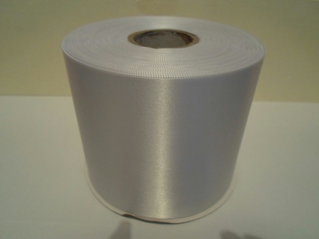 2 metres x 100mm White Satin Ribbon, single sided 100 mm