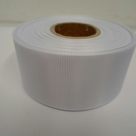 2 metres of 38mm White grosgrain ribbon, ribbed, double sided