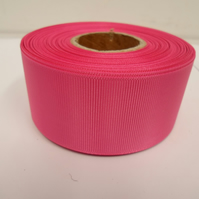 2 metres of 38mm Hot, Bright Pink grosgrain ribbon, ribbed, double sided