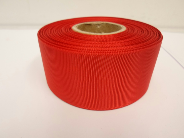 2 metres of 38mm Scarlet Bright Red Grosgrain Ribbon, ribbed, double sided