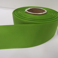 2 metres of 38mm Leaf, Bright Green Grosgrain Ribbon, ribbed, double sided