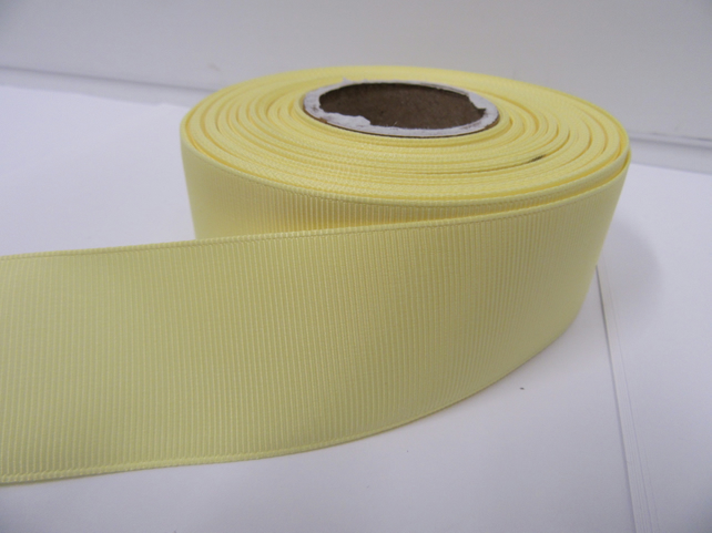 2 metres of 38mm Lemon, Light Yellow Grosgrain Ribbon, ribbed, double sided
