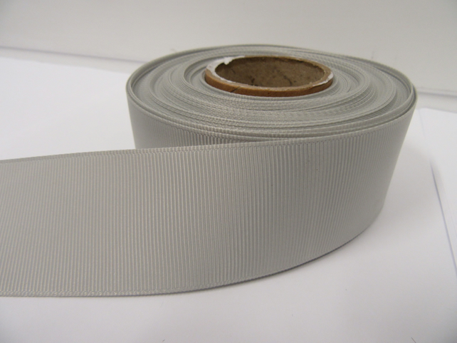 2 metres of 38mm Light Silver, Pale Grey Grosgrain Ribbon, ribbed, double sided