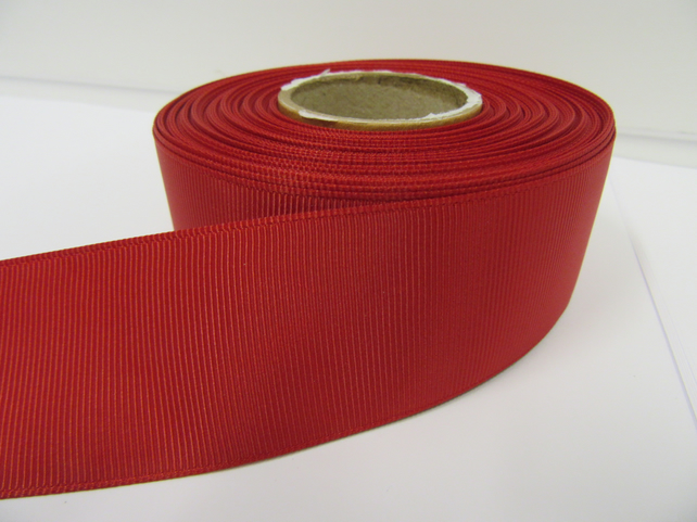 2 metres of 38mm Dark Red Grosgrain Ribbon, ribbed, double sided