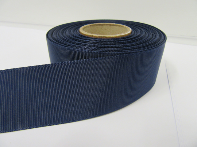 2 metres of 38mm Navy Dark Blue Grosgrain Ribbon, ribbed, double sided