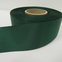 2 metres of 38mm Forest Dark Green Grosgrain Ribbon, ribbed, double sided