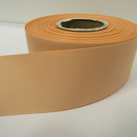 2 metres of 38mm Peach Grosgrain Ribbon, ribbed, double sided