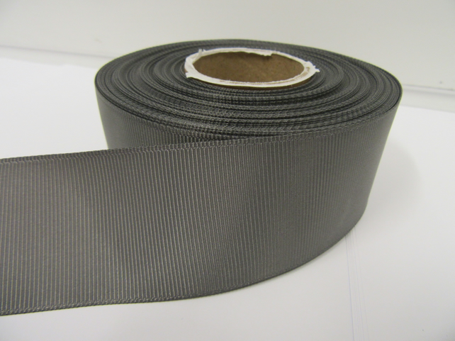 2 metres of 38mm Gun Metal Grey Dark Silver Grosgrain Ribbon ribbed, double side