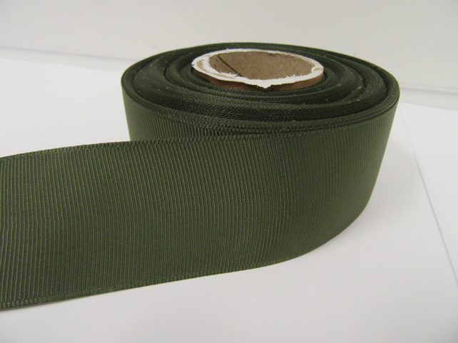 2 metres of 38mm Olive Dark Green Grosgrain Ribbon ribbed, double sided