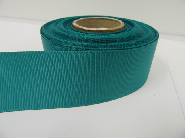 2 metres of 38mm Jade Dark Green Grosgrain Ribbon ribbed, double sided
