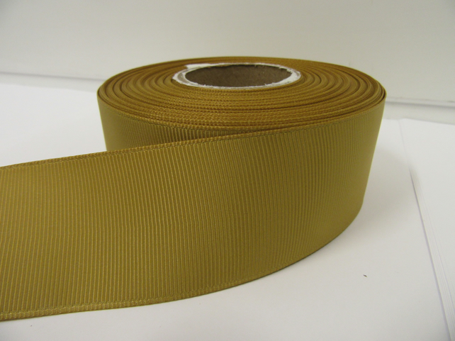 2 metres of 38mm Dark Gold Grosgrain Ribbon ribbed, double sided