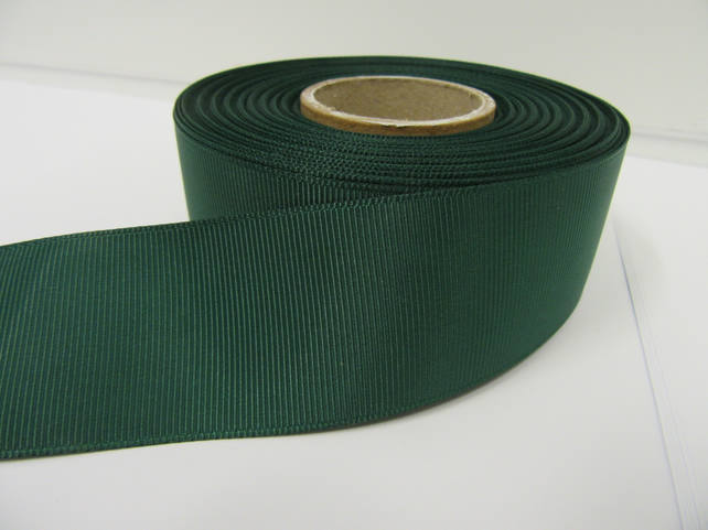1 roll x 38mm Forest Dark Green Grosgrain Ribbon, 20 metres, ribbed double side