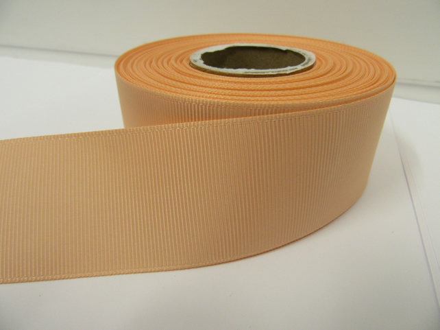1 roll x 38mm Peach Grosgrain Ribbon, 20 metres, ribbed double side