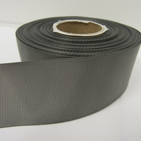 1 roll x 38mm Gun Metal Grey Dark Silver Grosgrain Ribbon, 20 metres, ribbed
