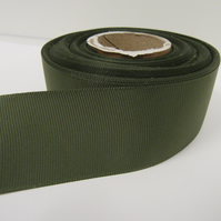 1 roll x 38mm Olive Dark Green Grosgrain Ribbon, 20 metres, ribbed double sided
