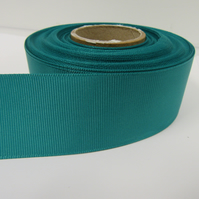 1 roll x 38mm Jade Dark Green Grosgrain Ribbon, 20 metres, ribbed double sided