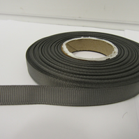 1 roll x 10mm Gun Metal Grey, Dark Silver Grosgrain Ribbon, 20 metres, ribbed