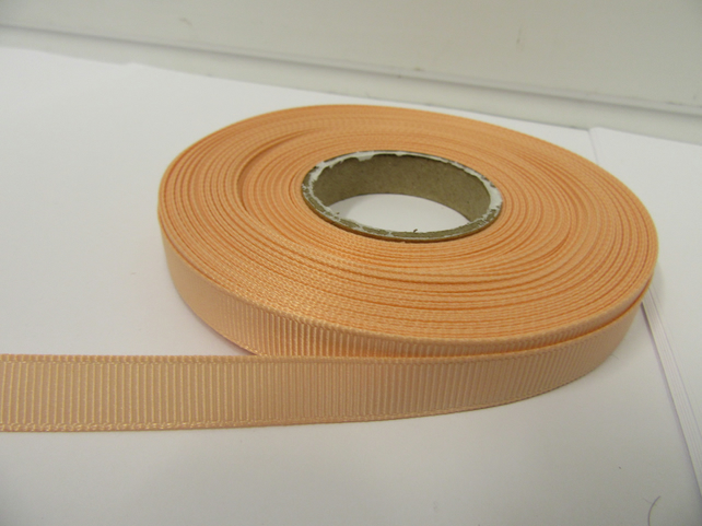 2 metres of 10mm Peach Grosgrain Ribbon, double sided ribbed