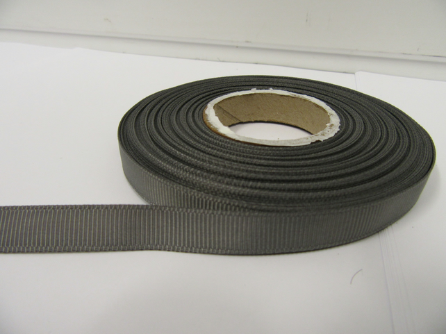 2 metres of 10mm Gun Metal Grey, Dark Silver Grosgrain Ribbon, double sided