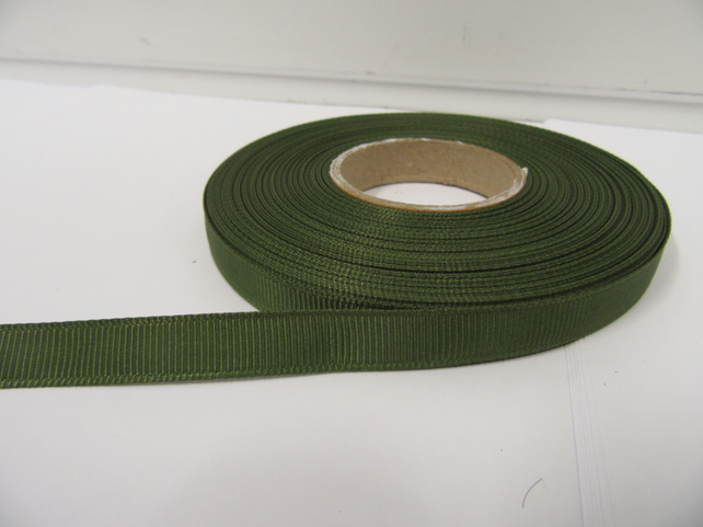 2 metres of 10mm Olive Dark Green Grosgrain Ribbon, double sided