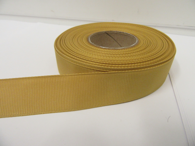 2 metres of 22mm Dark Gold Grosgrain Ribbon, double sided ribbed