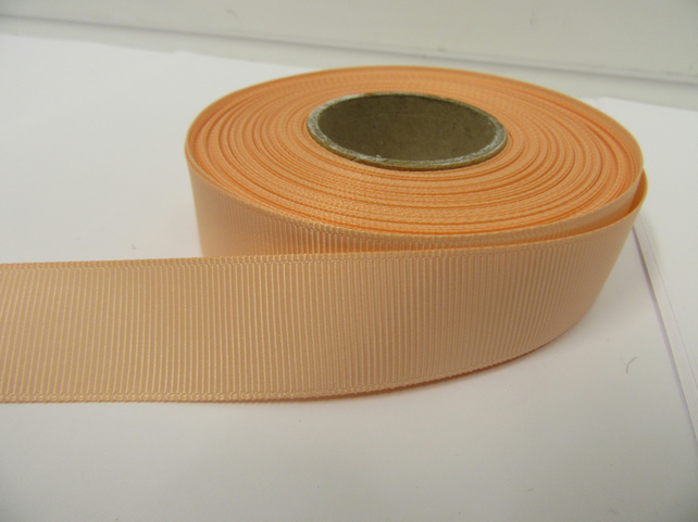 2 metres of 22mm Peach Grosgrain Ribbon, double sided ribbed
