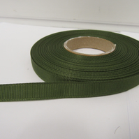 1 roll x 10mm Olive, Dark Green Grosgrain Ribbon, 20 metres, ribbed double sided