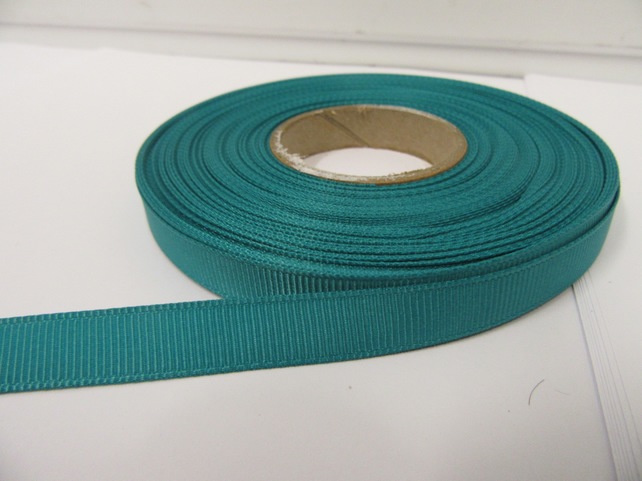 1 roll x 10mm Jade, Dark Green Grosgrain Ribbon, 20 metres, ribbed double sided