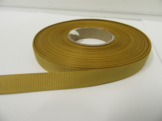 1 roll x 10mm Dark Gold Grosgrain Ribbon, 20 metres, ribbed double sided