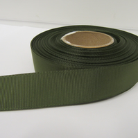 1 roll of 22mm Olive Dark Green Grosgrain ribbon, 20 metres, ribbed