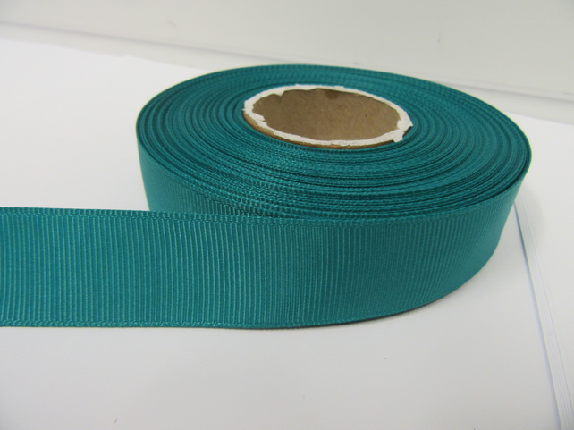 2 metres of 22mm Jade Dark Green Grosgrain Ribbon, ribbed