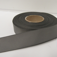 2 metres of 22mm Gun Metal Grey, Dark Silver Grosgrain Ribbon, ribbed