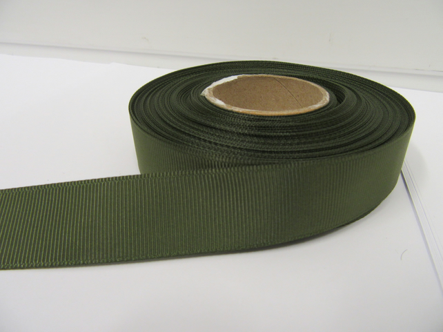 2 metres of 22mm Olive Dark Green Grosgrain Ribbon, ribbed